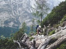 Wandelaars op een steile manier omhoog de berg stock afbeelding