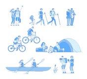 Wandelaarskarakters Van de de reistoerist van het vriendenkampvuur van de de groeps onderzoekt de wandelende berijdende fiets fam stock illustratie
