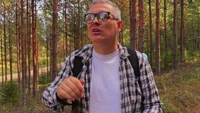 Wandelaarvraag naar hulp in het hout stock video