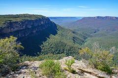 Wandelend aan hemels rotsvooruitzicht, blauwe bergen, Australië 10 stock afbeelding