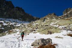 Wandelend in het Hoge Nationale Park van Tatras, Slowakije Stock Afbeeldingen