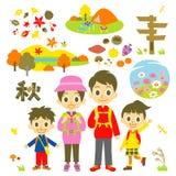 Wandelende de herfstfamilie vector illustratie