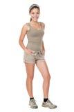 wandelende geïsoleerde vrouw Stock Fotografie