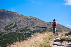 Wandelende toerist die tot de bergbovenkant gaat Stock Foto's