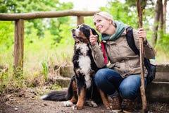 Wandelende vrouw met haar hond op een sleep stock foto