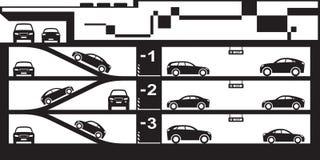Wandelgalerij met ondergronds autoparkeren royalty-vrije illustratie