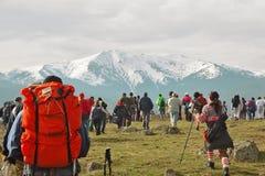 Wandeling in de bergen stock fotografie