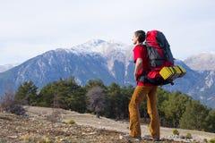 Wandeling in de bergen Stock Afbeelding