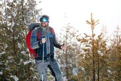Wandeling in de bergen in winter-jonge mensentrekking in bos Royalty-vrije Stock Foto's