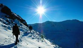 Wandeling in de winter Royalty-vrije Stock Foto's