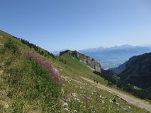 Wandeling in de Zwitserse Alpen Stock Fotografie