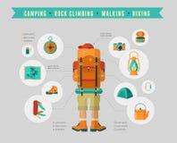 Wandeling en het kamperen materiaal - pictogramreeks en Stock Afbeeldingen