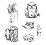 Wandeling en het kamperen Reeks tekeningen Royalty-vrije Stock Foto's