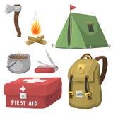 Wandeling het kamperen het kamptoestel van de materiaalbasis en van het toebehoren openluchtbeeldverhaal reis vectorillustratie stock illustratie