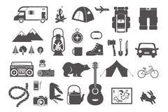 Wandeling, het kamperen - reeks pictogrammen en elementen Royalty-vrije Stock Afbeeldingen