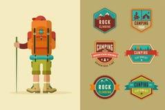 Wandeling, kampkentekens - reeks pictogrammen en elementen stock illustratie
