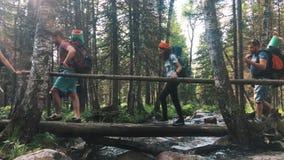 Wandeling langs de sleep op een Zonnige dag Groep het avonturenreis van de vriendenzomer in bergaard in openlucht stock video