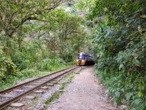 Wandeling langs de treinsporen van Peru Rail op de weg aan Aguas stock fotografie