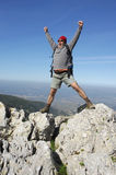 Wandeling op de bovenkant van een berg Royalty-vrije Stock Fotografie