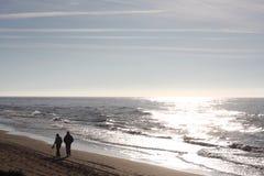 Wandeling op het strand Stock Fotografie