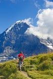 Wandeling in Zwitserse alpen Royalty-vrije Stock Afbeeldingen