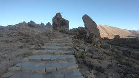 Wandelings spectaculair vulkanisch landschap die Roques DE Garcia omringen onder Teide stock videobeelden