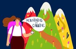 Wandelings vectorachtergrond Bergen en meisje, alpinism concept vector illustratie