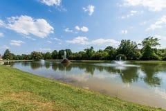 Wandelingsgebied in Baker Park in Frederick, Maryland royalty-vrije stock foto's
