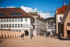 Wandelingsgebied in centrum van Vaduz Stock Afbeelding