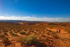 Wandelingsgrand canyon Reis bij Hoefijzerkromming, Arizona, royalty-vrije stock afbeelding