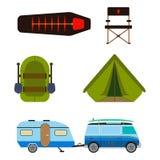 Wandelingsreeks Het kamperen inzameling van de materiaal de vectorzomer Stock Afbeelding