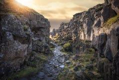 Wandelingssleep bij het Nationale Park van Thingvellir in IJsland royalty-vrije stock fotografie