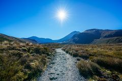 Wandelingstongariro alpiene kruising, vulkaanmt ngauruhoe, nieuwe zealan Royalty-vrije Stock Afbeelding