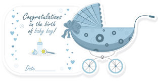 Wandelwagen voor babyjongen, vectorillustratie Stock Afbeelding
