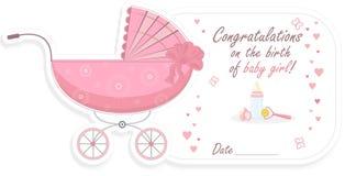Wandelwagen voor babymeisje, vectorillustratie stock illustratie