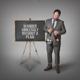 Wander aimlessly without a plan text on blackboard with businessman Stock Images
