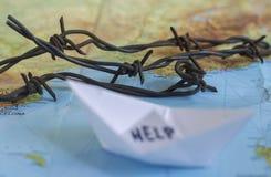 Wander- Krisen-Flüchtlings-Weltkarte Lizenzfreie Stockbilder