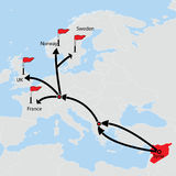 Wander- Weg von Syrien Reiseziele auf Karte Lizenzfreie Stockfotografie