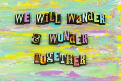 Wander wonder adventure together forever love enjoy typography font. Wander wonder adventure together forever love enjoy letterpress type illustration artistic vector illustration
