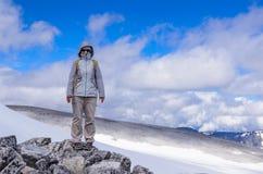 Wanderer über dem Grjotbreen-Gletscher lizenzfreie stockfotografie