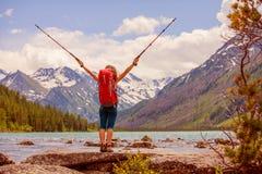 Wanderer in Altai-Bergen Stockbild
