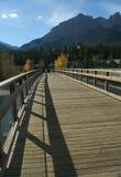 Wanderer auf Brücke über Bogen-Fluss Lizenzfreie Stockfotos