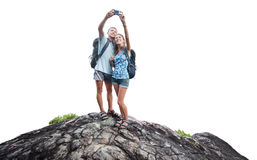 Wanderer auf dem Felsen Stockfotografie