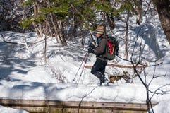 Wanderer auf dem Jizo-Durchlauf in der Präfektur Nagano, Japan Stockfotos