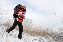 Wanderer auf dem Schnee Stockfotografie