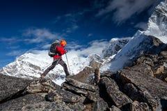Wanderer auf der Wanderung im Himalaja, Khumbu-Tal lizenzfreie stockfotos
