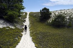 Wanderer auf einer Düne-Spur stockfotografie
