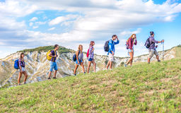 Wanderer auf Exkursion Stockbilder