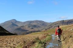 Wanderer auf Gebirgsfußweg im See-Bezirk stockfoto