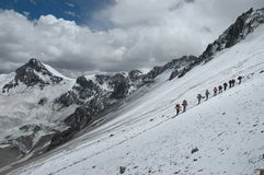 Wanderer auf ihrer Weise zu Aconcagua Stockfotografie
